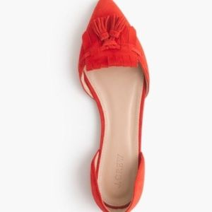 J. Crew Red Suede Tassel D'orsay Flats